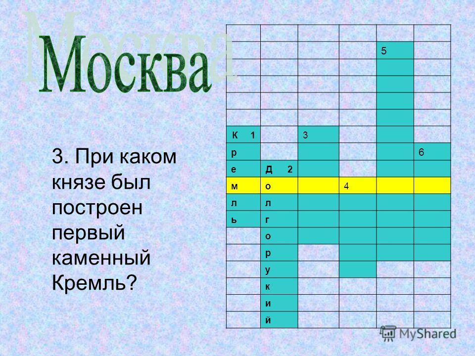 5 К 1 3 р 6 е Д 2 м о 4 л л ь г о р у к и й 3. При каком князе был построен первый каменный Кремль?