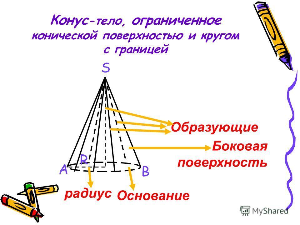 Конус -тело, ограниченное конической поверхностью и кругом с границей Образующие Основание Боковая поверхность радиус A B S R