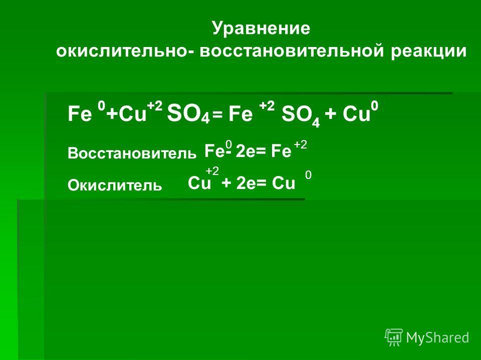 Уравнение окислительно- восстановительной реакции Fe 0 +Cu +2 SO 4 = Fe +2 SO 4 + Сu 0 Восстановитель Fe- 2e= Fe Окислитель Cu + 2e= Cu 0+2 0