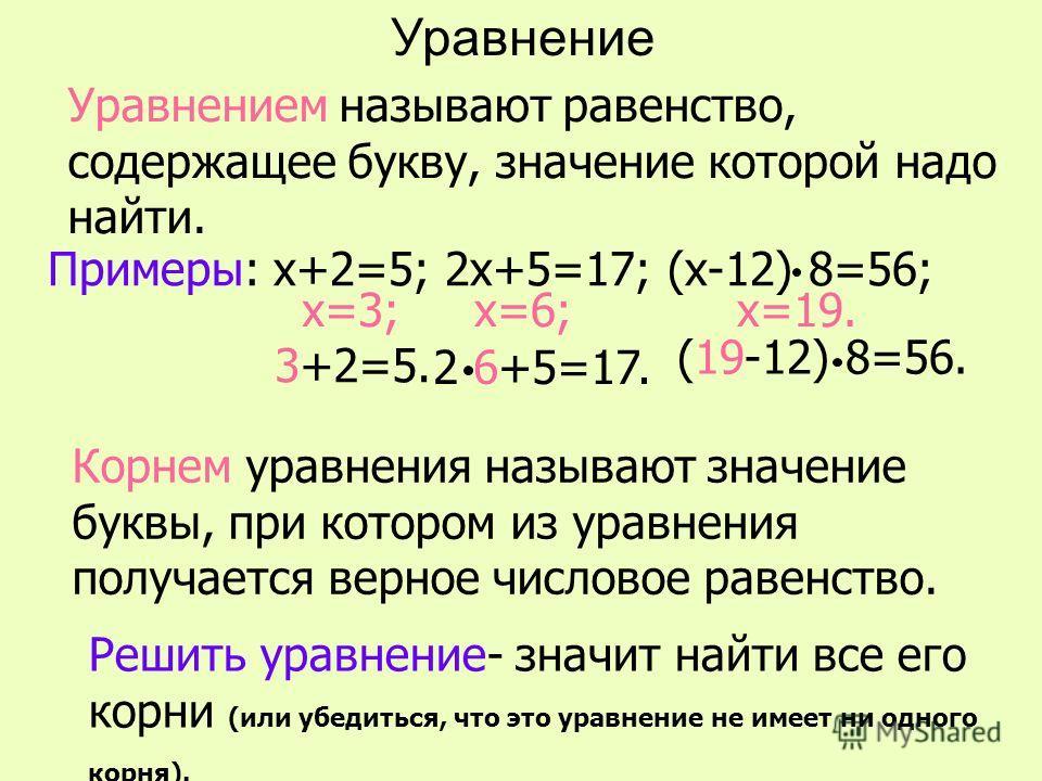 Уравнение Уравнением называют равенство, содержащее букву, значение которой надо найти. Корнем уравнения называют значение буквы, при котором из уравнения получается верное числовое равенство. Примеры: х+2=5; 2х+5=17; (х-12) 8=56; х=3;х=6;х=19. Решит