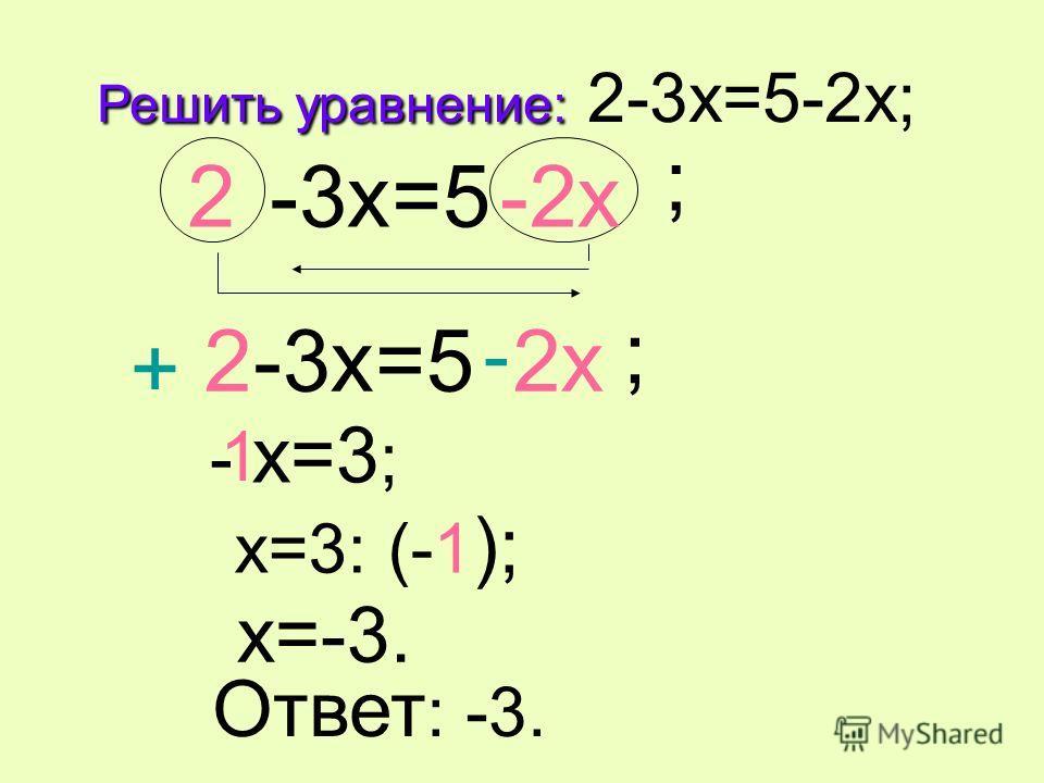 Решить уравнение: Решить уравнение: 2-3x=5-2x; -3x=5 ; 2 2-2x -3x=5 ; 2-2x - x=3 ; x=3: (-1 ); 1 x=-3. Ответ : -3. - +