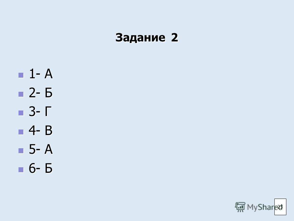 Задание 2 1- А 1- А 2- Б 2- Б 3- Г 3- Г 4- В 4- В 5- А 5- А 6- Б 6- Б 23