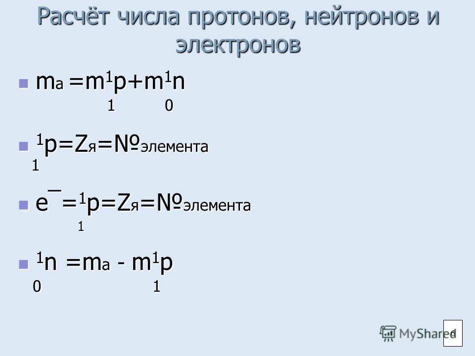 Расчёт числа протонов, нейтронов и электронов ma =m1p+m1n 1 0 1p=Zя=элемента 1 e¯=1p=Zя=элемента 1 1n =ma - m1p 0 1 6