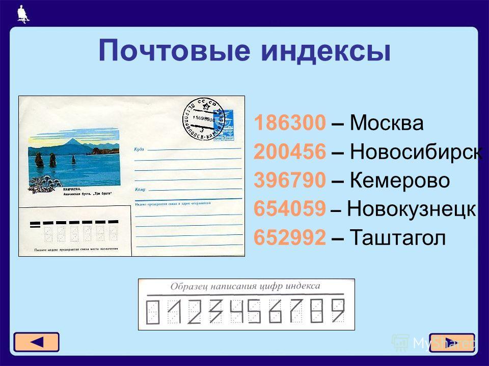 Почтовые индексы 186300 – Москва 200456 – Новосибирск 396790 – Кемерово 654059 – Новокузнецк 652992 – Таштагол