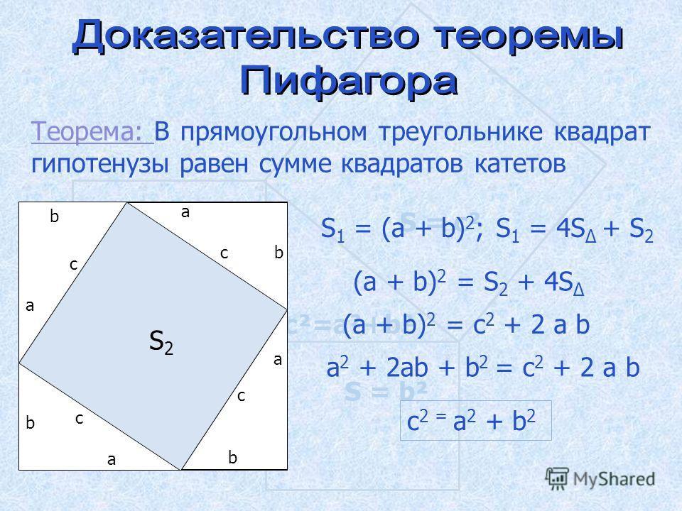 S = а ² S = b² S = c² c²=a²+b² Теорема: Теорема: В прямоугольном треугольнике квадрат гипотенузы равен сумме квадратов катетов a b c a bc a b c a b c S 1 = (a + b) 2 ; S 1 = 4S + S 2 (a + b) 2 = S 2 + 4S (a + b) 2 = с 2 + 2 a b a 2 + 2ab + b 2 = с 2