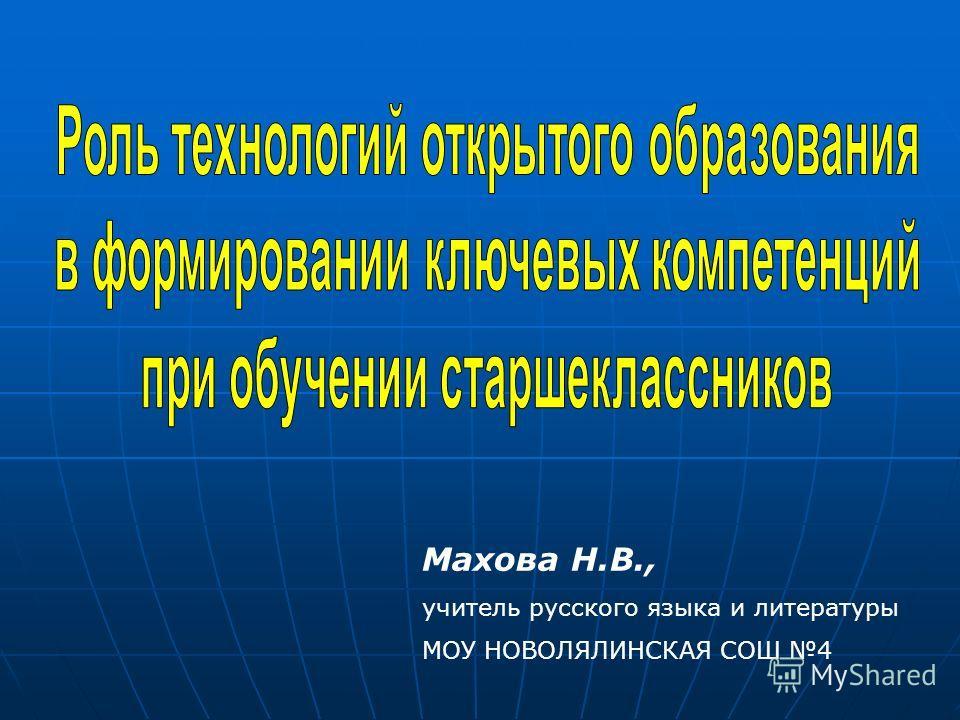 Махова Н.В., учитель русского языка и литературы МОУ НОВОЛЯЛИНСКАЯ СОШ 4