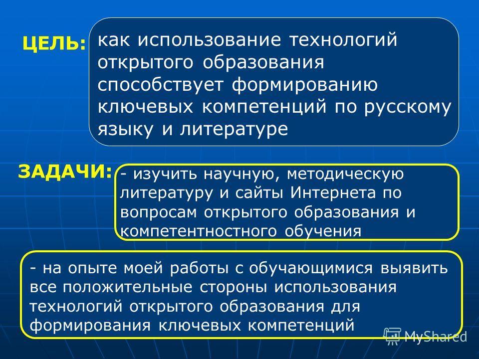 ЦЕЛЬ: как использование технологий открытого образования способствует формированию ключевых компетенций по русскому языку и литературе ЗАДАЧИ: - изучить научную, методическую литературу и сайты Интернета по вопросам открытого образования и компетентн