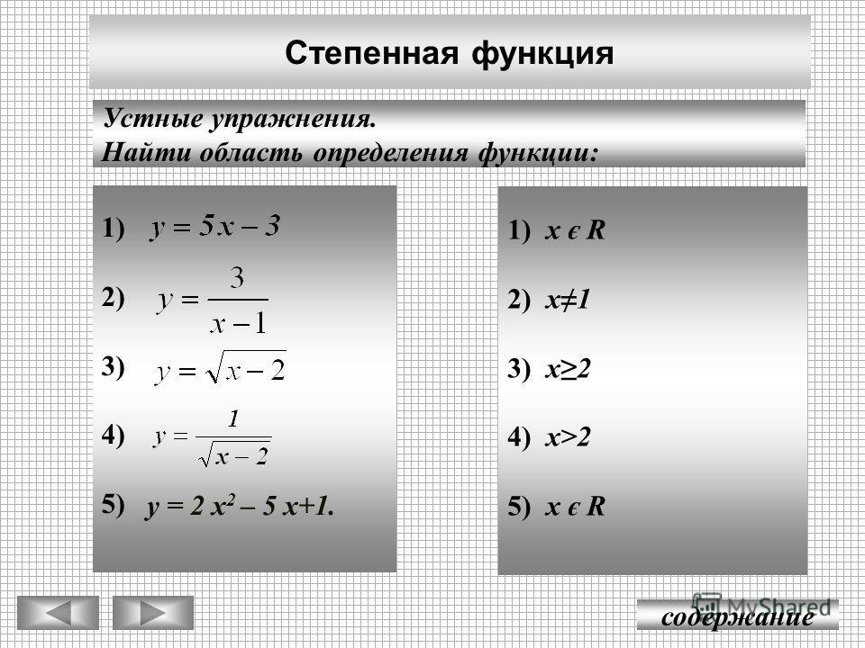 1) 2) 3) 4) 5) Степенная функция содержание Устные упражнения. Найти область определения функции: у = 2 х 2 – 5 х+1. 1) x є R 2) x1 3) x2 4) x>2 5) x є R