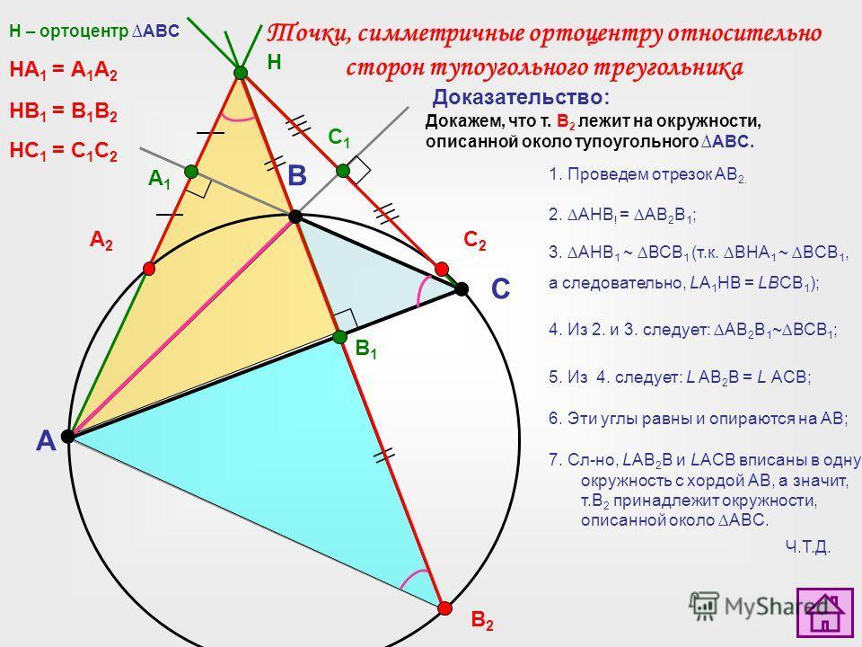 A C B H A1A1 В2В2 B1B1 А2А2 НА 1 = А 1 А 2 C1C1 C2C2 НB 1 = B 1 B 2 НC 1 = C 1 C 2 Докажем, что т. В 2 лежит на окружности, описанной около тупоугольного ABC. 1. Проведем отрезок АВ 2. H – ортоцентр ABC Доказательство: Точки, симметричные ортоцентру