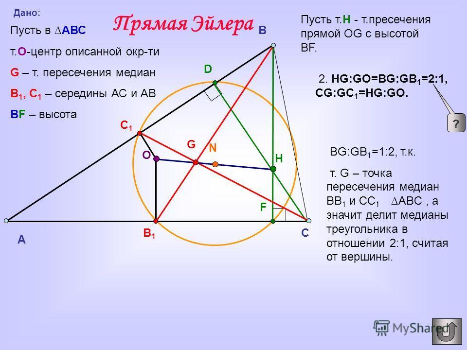 A C B D F B1B1 C1C1 G О N H Дано: Пусть в АВС т.O-центр описанной окр-ти G – т. пересечения медиан В 1, С 1 – середины АС и АВ BF – высота Пусть т.Н - т.пресечения прямой OG с высотой BF. 2. HG:GO=BG:GB 1 =2:1, CG:GC 1 =HG:GO. Прямая Эйлера ? BG:GB 1
