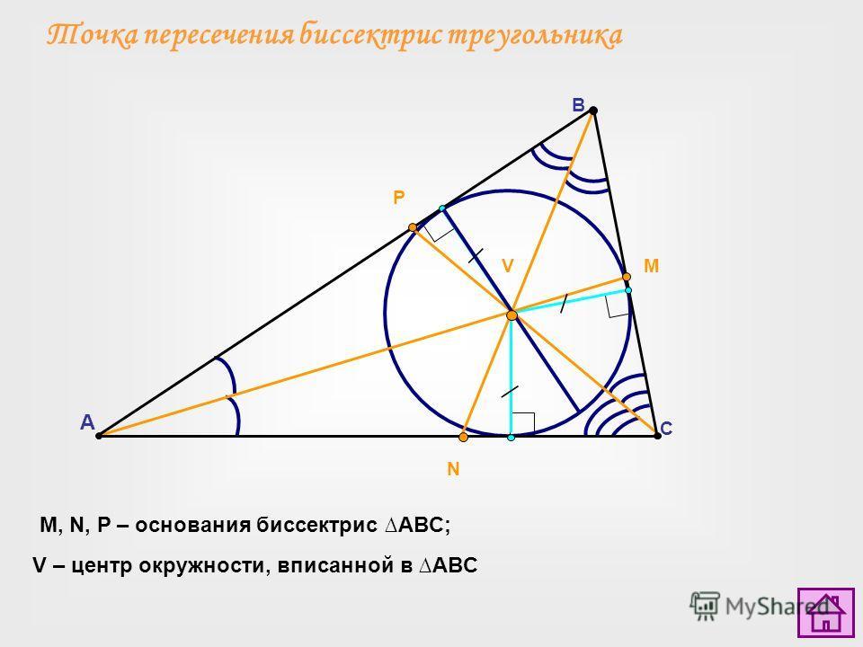 Точка пересечения биссектрис треугольника A C B VM N P M, N, P – основания биссектрис ABC; V – центр окружности, вписанной в ABC