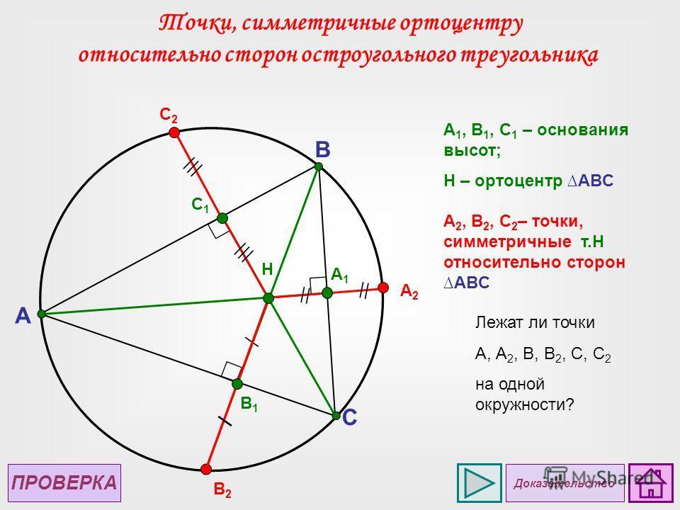 A C B B1B1 H A1A1 C1C1 А2А2 A 1, B 1, C 1 – основания высот; H – ортоцентр ABC C2C2 B2B2 A 2, B 2, C 2 – точки, симметричные т.Н относительно сторон ABC Точки, симметричные ортоцентру относительно сторон остроугольного треугольника Лежат ли точки А,