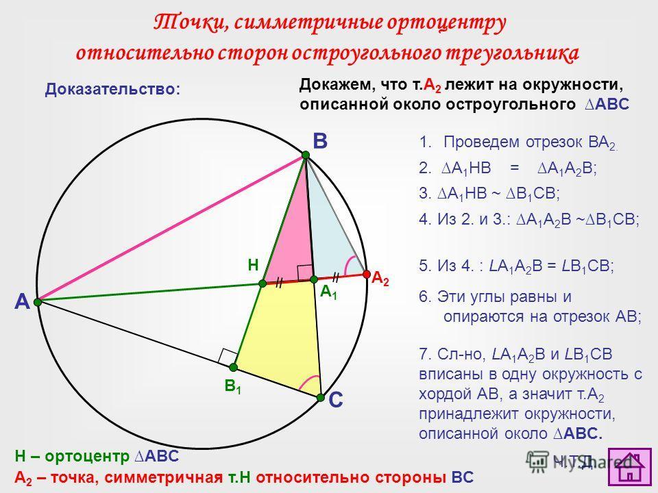 Докажем, что т.А 2 лежит на окружности, описанной около остроугольного ABC A C B H А2А2 H – ортоцентр ABC A 2 – точка, симметричная т.Н относительно стороны BC B1B1 Доказательство: 1.Проведем отрезок ВА 2. 2. A 1 HB = A 1 A 2 В; 3. A 1 HB ~ B 1 СВ; 4