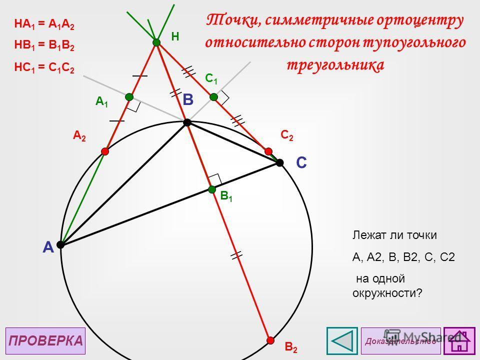 A C B H A1A1 В2В2 B1B1 А2А2 НА 1 = А 1 А 2 C1C1 C2C2 НB 1 = B 1 B 2 НC 1 = C 1 C 2 ПРОВЕРКА Лежат ли точки А, А2, В, В2, С, С2 на одной окружности? Доказательство Точки, симметричные ортоцентру относительно сторон тупоугольного треугольника