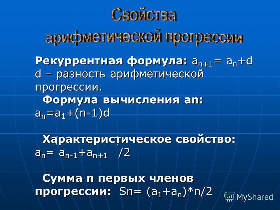 Рекуррентная формула: a n+1 = a n +d d – разность арифметической прогрессии. Формула вычисления an: a n =a 1 +(n-1)d Формула вычисления an: a n =a 1 +(n-1)d Характеристическое свойство: Характеристическое свойство: a n = a n-1 +a n+1 /2 Сумма n первы