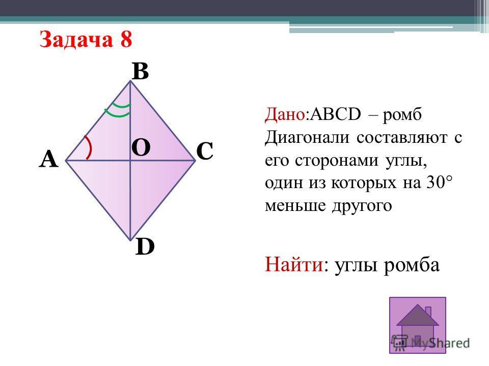 Задача 8 Дано:ABCD – ромб Диагонали составляют с его сторонами углы, один из которых на 30° меньше другого Найти: углы ромба C A B D O