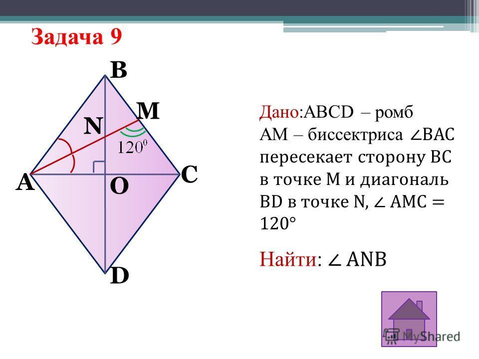 Задача 9 A N M O D B C Дано:ABCD – ромб AM – биссектрисаBAC пересекает сторону ВС в точке М и диагональ BD в точке N, AMC = 120° Найти: ANB