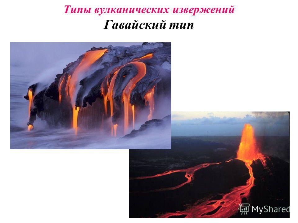 Типы вулканических извержений ГавайскийГавайский – лава из трещин в земной коре свободно растекается на большие расстояния ПелейскийПелейский – бомбы выбрасываются на сотни метров, но лава не течёт ВезувианскийВезувианский – мощные взрывы превращают
