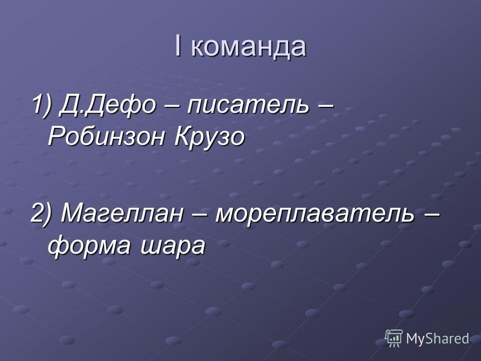 I команда 1) Д.Дефо – писатель – Робинзон Крузо 2) Магеллан – мореплаватель – форма шара
