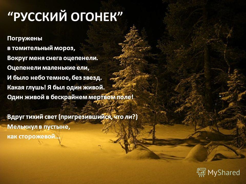 РУССКИЙ ОГОНЕК Погружены в томительный мороз, Вокруг меня снега оцепенели. Оцепенели маленькие ели, И было небо темное, без звезд. Какая глушь! Я был один живой. Один живой в бескрайнем мертвом поле! Вдруг тихий свет (пригрезившийся, что ли?) Мелькну