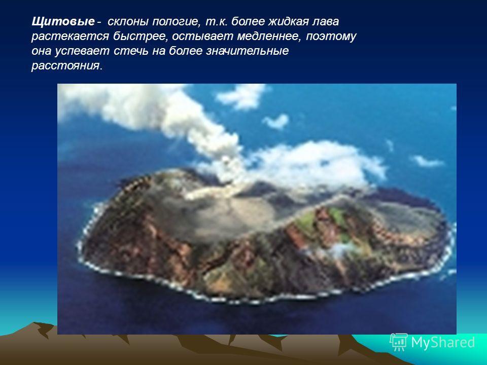 Щитовые - склоны пологие, т.к. более жидкая лава растекается быстрее, остывает медленнее, поэтому она успевает стечь на более значительные расстояния.