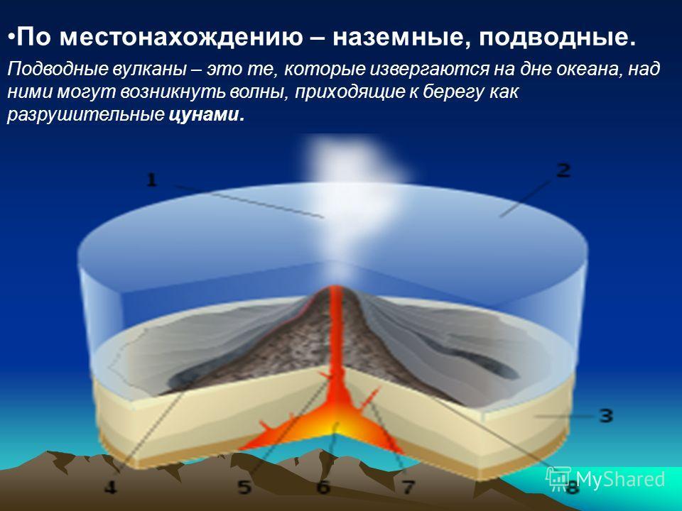 По местонахождению – наземные, подводные. Подводные вулканы – это те, которые извергаются на дне океана, над ними могут возникнуть волны, приходящие к берегу как разрушительные цунами.