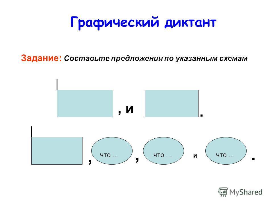 Графический диктант Задание: Составьте предложения по указанным схемам, и. что …,, и.