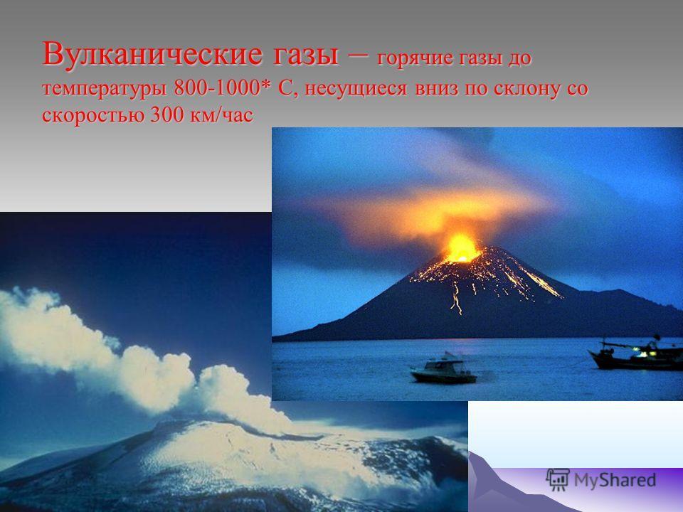 Вулканические газы – горячие газы до температуры 800-1000* С, несущиеся вниз по склону со скоростью 300 км/час