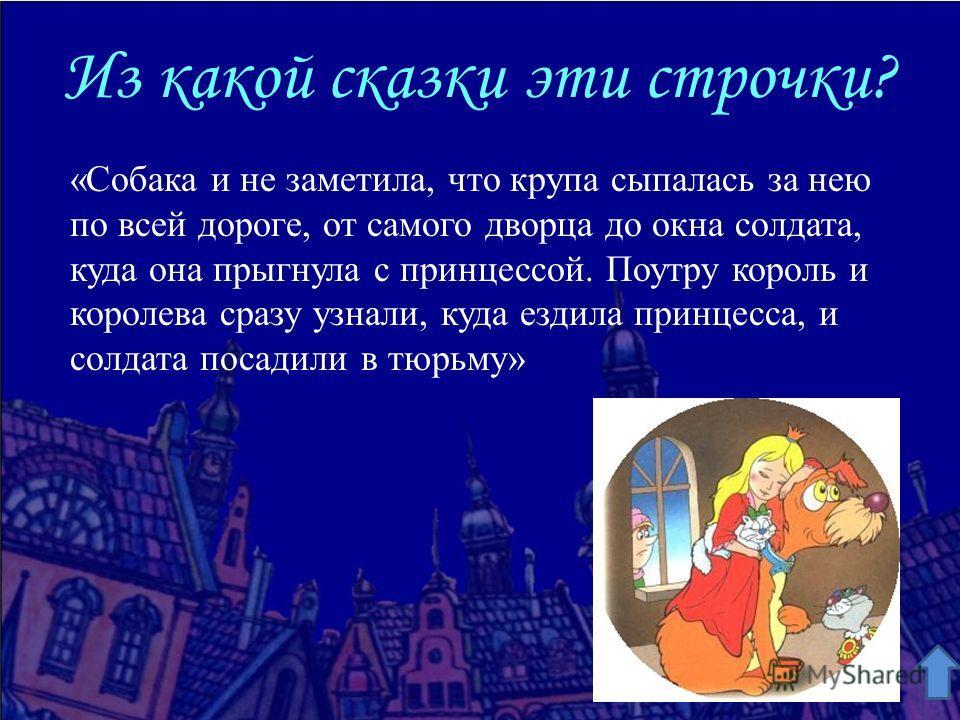 Из какой сказки эти строчки? «Собака и не заметила, что крупа сыпалась за нею по всей дороге, от самого дворца до окна солдата, куда она прыгнула с принцессой. Поутру король и королева сразу узнали, куда ездила принцесса, и солдата посадили в тюрьму»