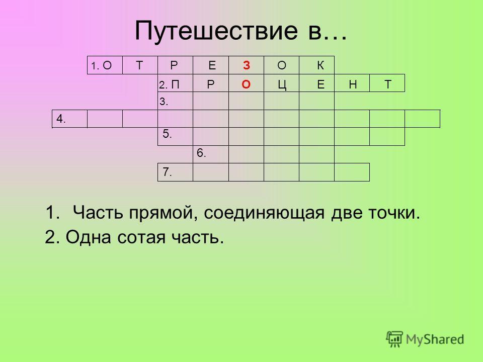 Путешествие в… 1.Часть прямой, соединяющая две точки. 2. Одна сотая часть. 1. О Т Р Е З О К 2. П Р О Ц Е Н Т 3. 4. 5. 6. 7.