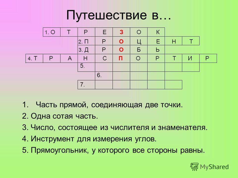 Путешествие в… 1.Часть прямой, соединяющая две точки. 2. Одна сотая часть. 3. Число, состоящее из числителя и знаменателя. 4. Инструмент для измерения углов. 5. Прямоугольник, у которого все стороны равны. 1. О Т Р Е З О К 2. П Р О Ц Е Н Т 3. Д Р О Б