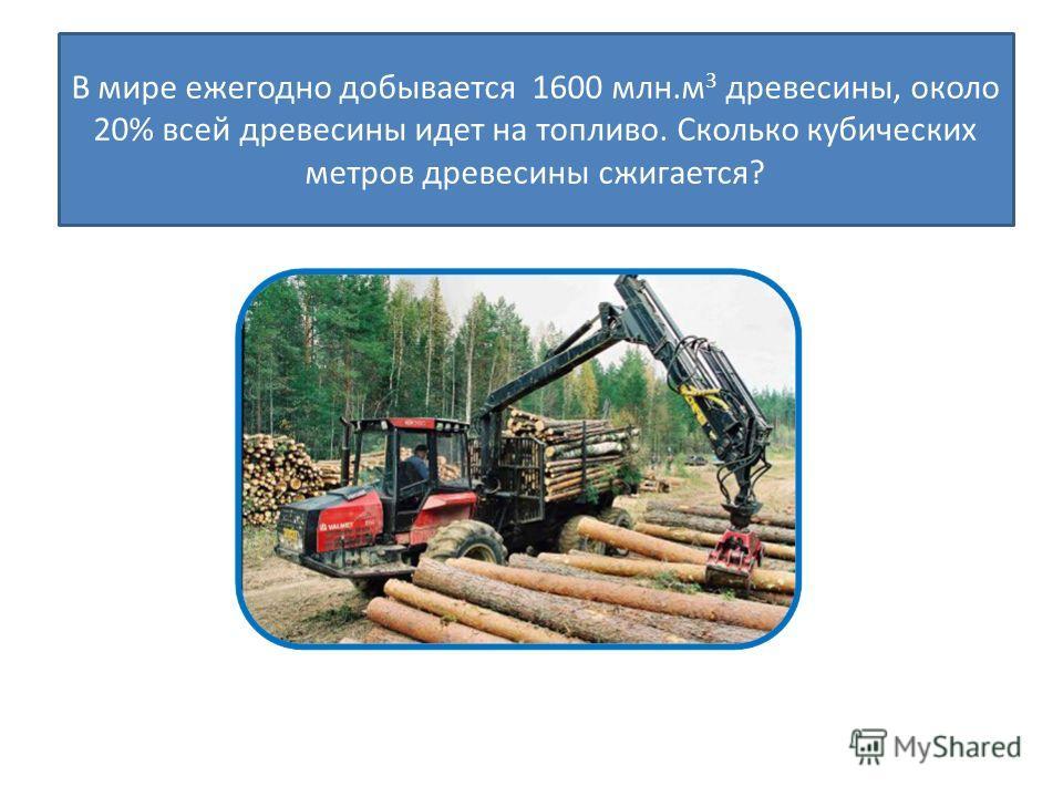 В мире ежегодно добывается 1600 млн.м 3 древесины, около 20% всей древесины идет на топливо. Сколько кубических метров древесины сжигается?