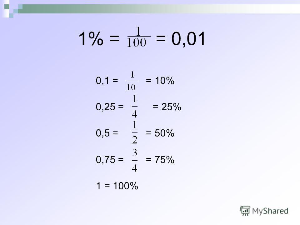 1% = = 0,01 0,1 = = 10% 0,25 = = 25% 0,5 = = 50% 0,75 = = 75% 1 = 100%