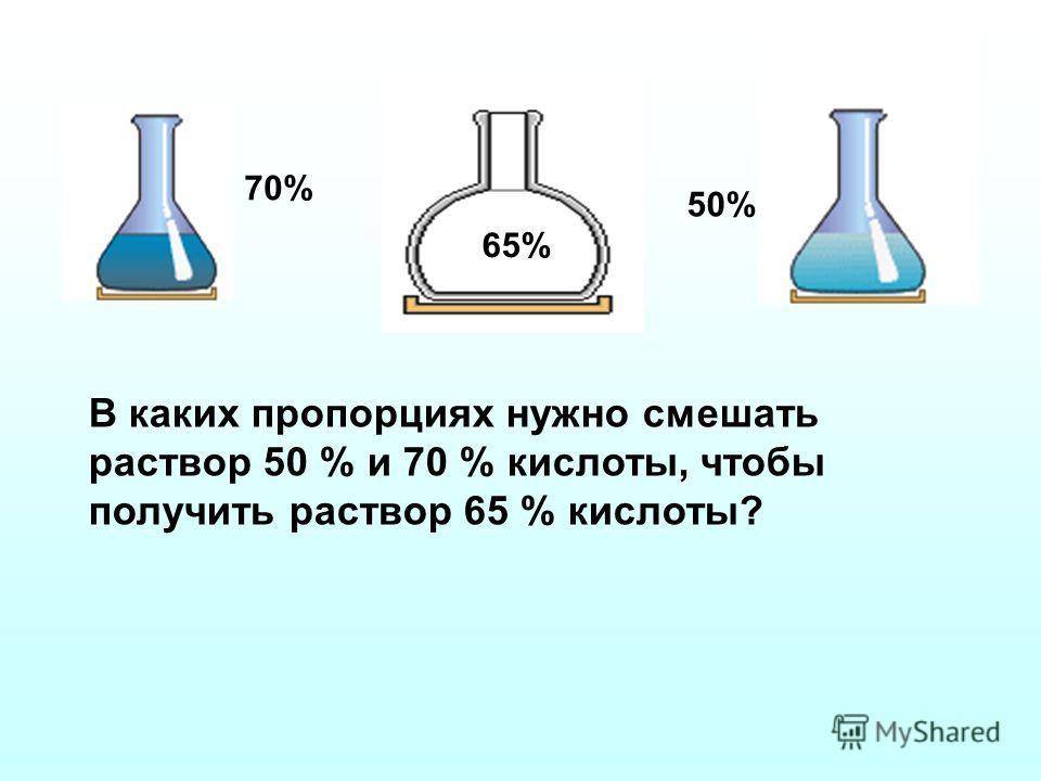 В каких пропорциях нужно смешать раствор 50 % и 70 % кислоты, чтобы получить раствор 65 % кислоты? 70% 50% 65%