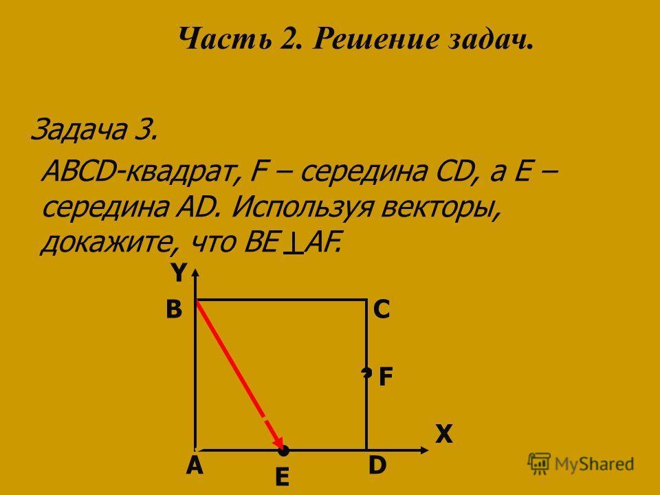 A Y D C ABCD-квадрат, F – середина CD, а Е – середина AD. Используя векторы, докажите, что BE AF. Задача 3. B F E Часть 2. Решение задач. X