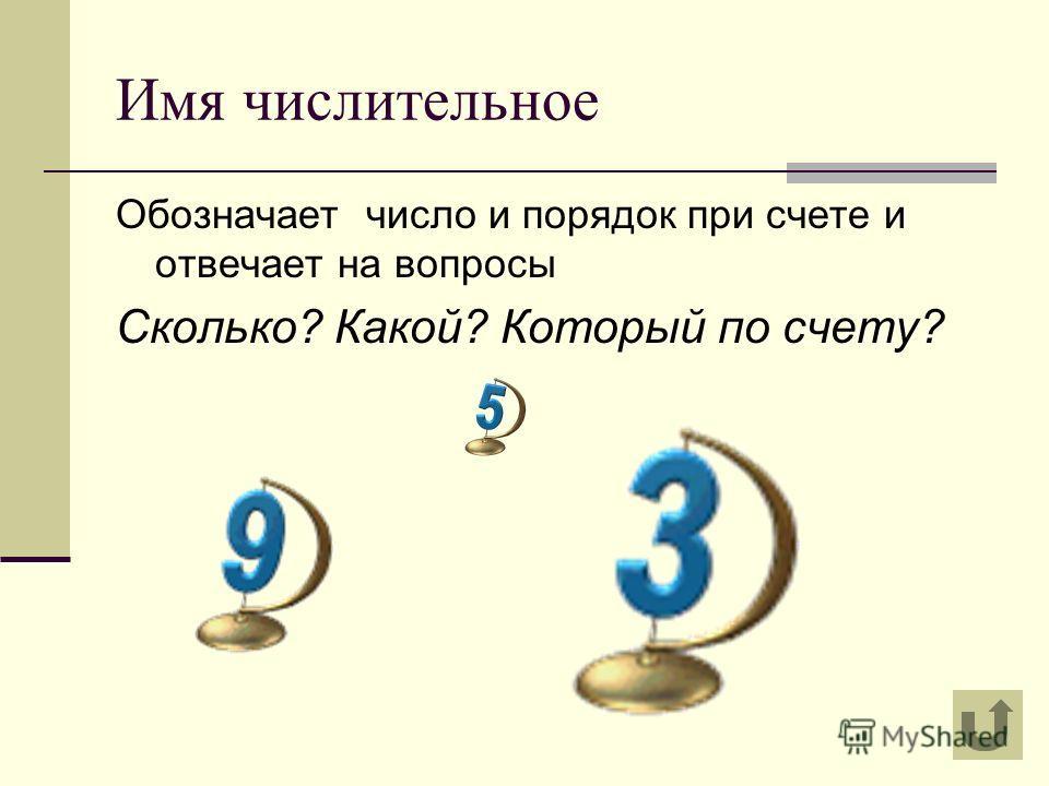Имя числительное Обозначает число и порядок при счете и отвечает на вопросы Сколько? Какой? Который по счету?