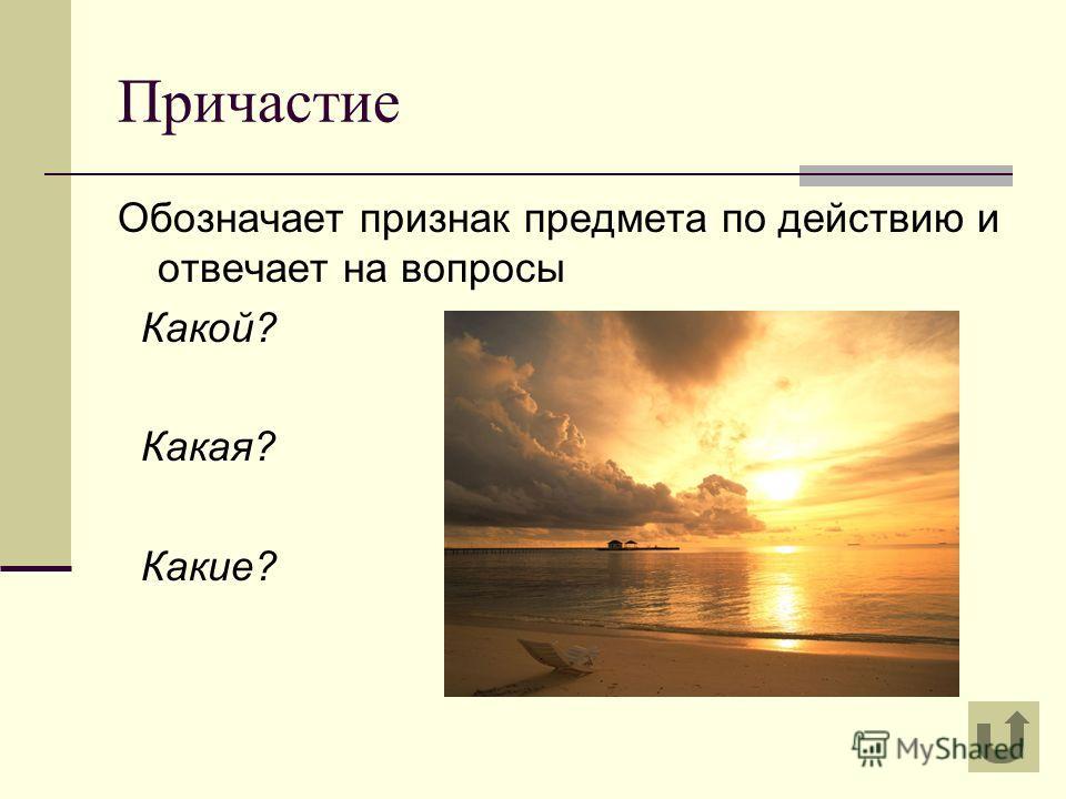 Причастие Обозначает признак предмета по действию и отвечает на вопросы Какой? Какая? Какие?