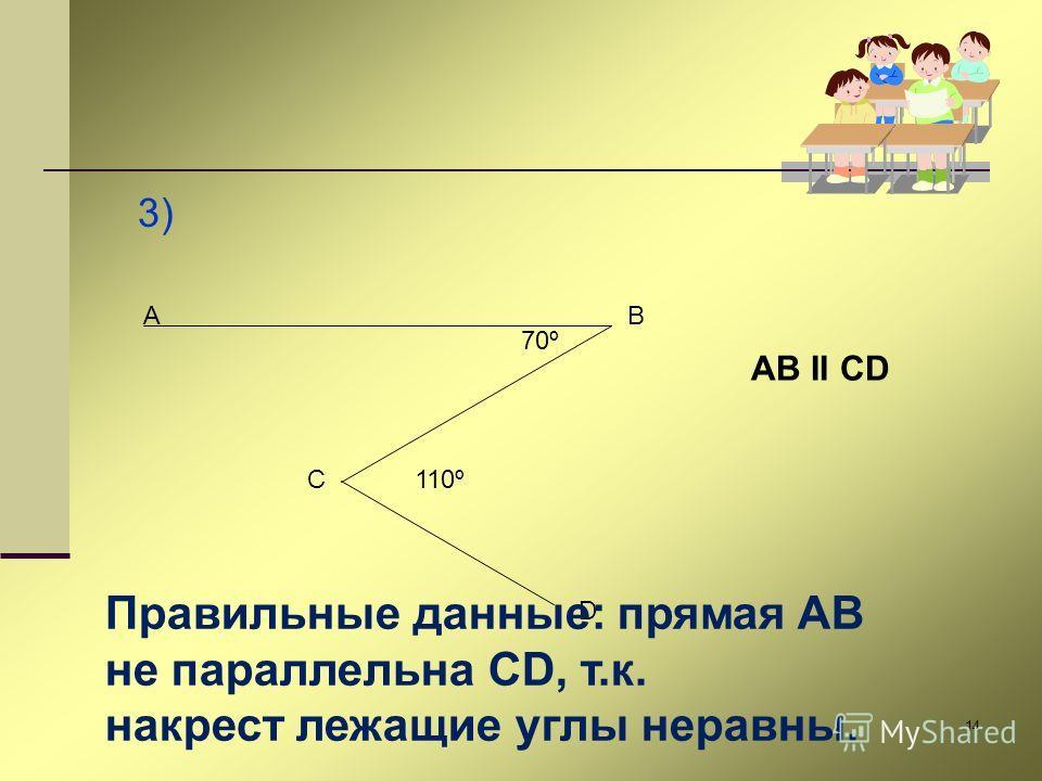14 3) AB C D 70º 110º AB II CD Правильные данные: прямая AB не параллельна CD, т.к. накрест лежащие углы неравны.