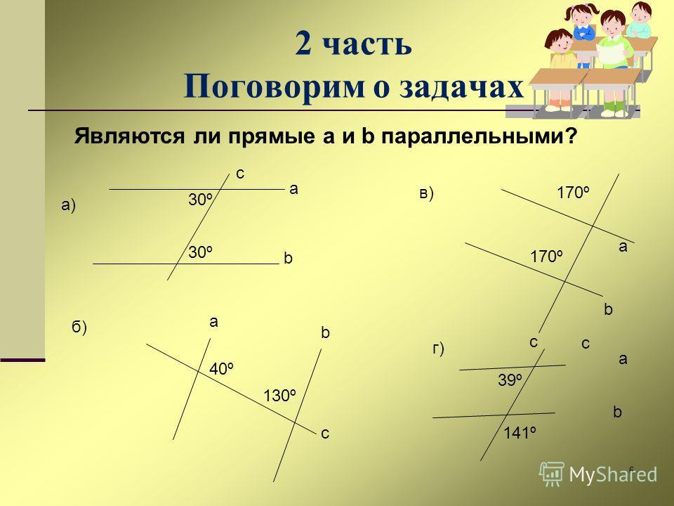 6 2 часть Поговорим о задачах Являются ли прямые a и b параллельными? 30º a b а) 40º 130º a b c c б) в)170º a b c 39º 141º a b c г)