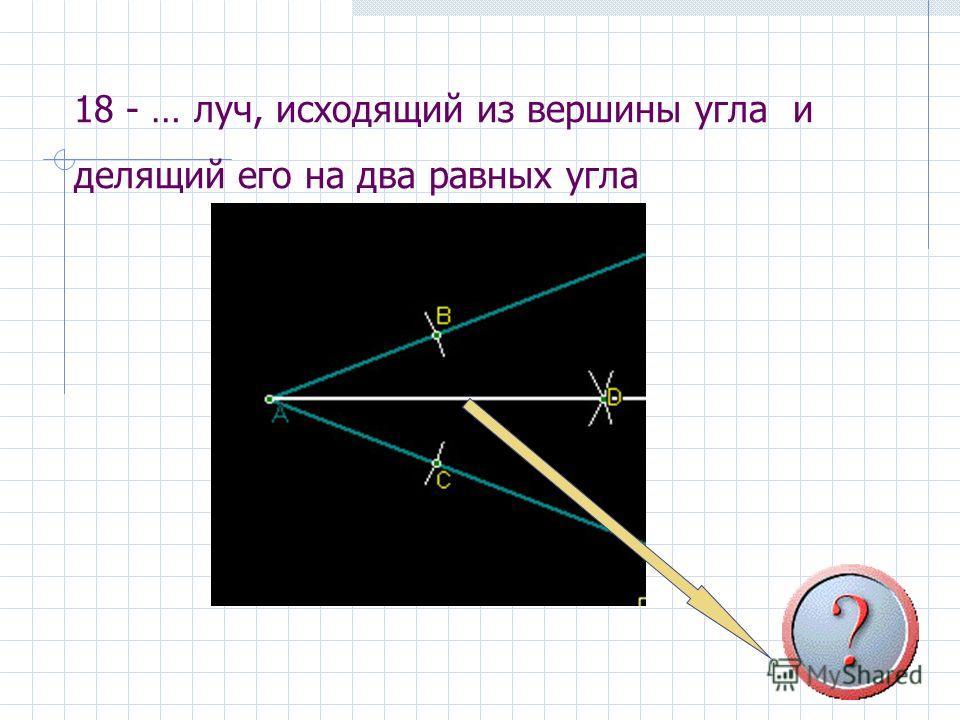 18 - … луч, исходящий из вершины угла и делящий его на два равных угла