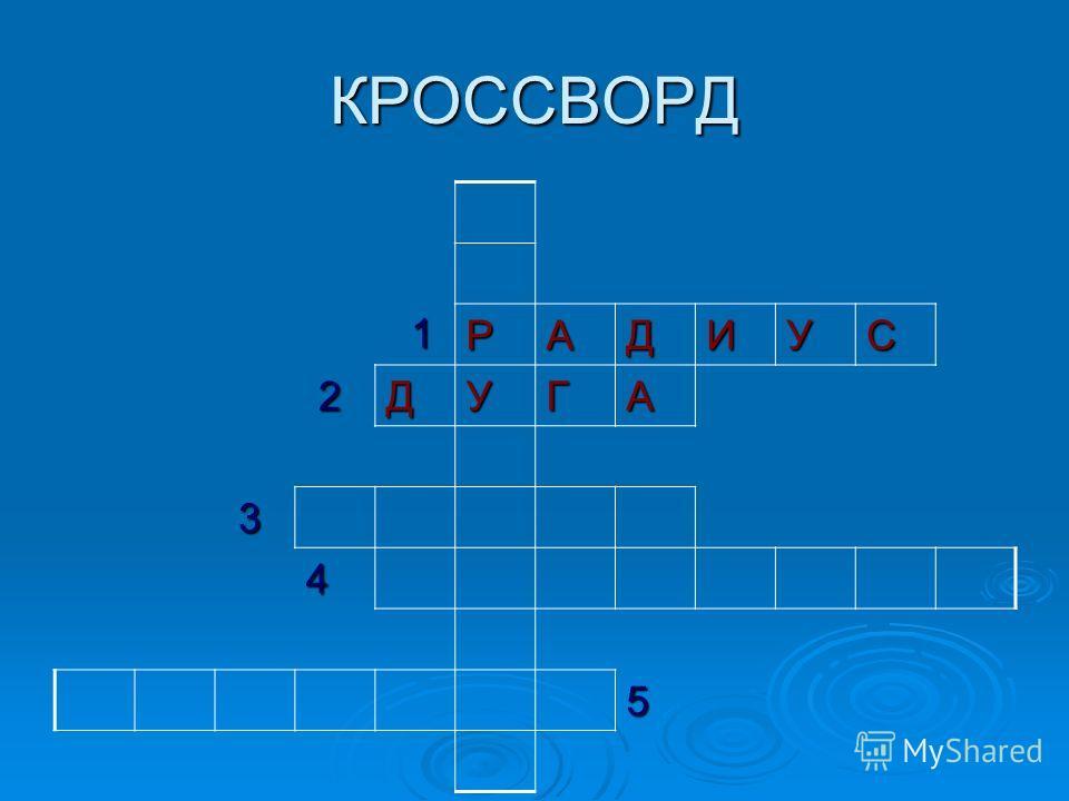 КРОССВОРД 1 РАДИУС 2 3 4 5