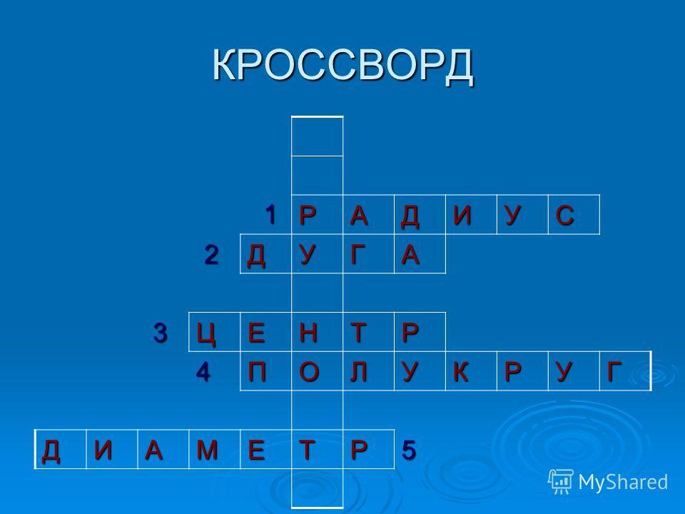 КРОССВОРД 1 РАДИУС 2ДУГА 3ЦЕНТР 4ПОЛУКРУГ 5
