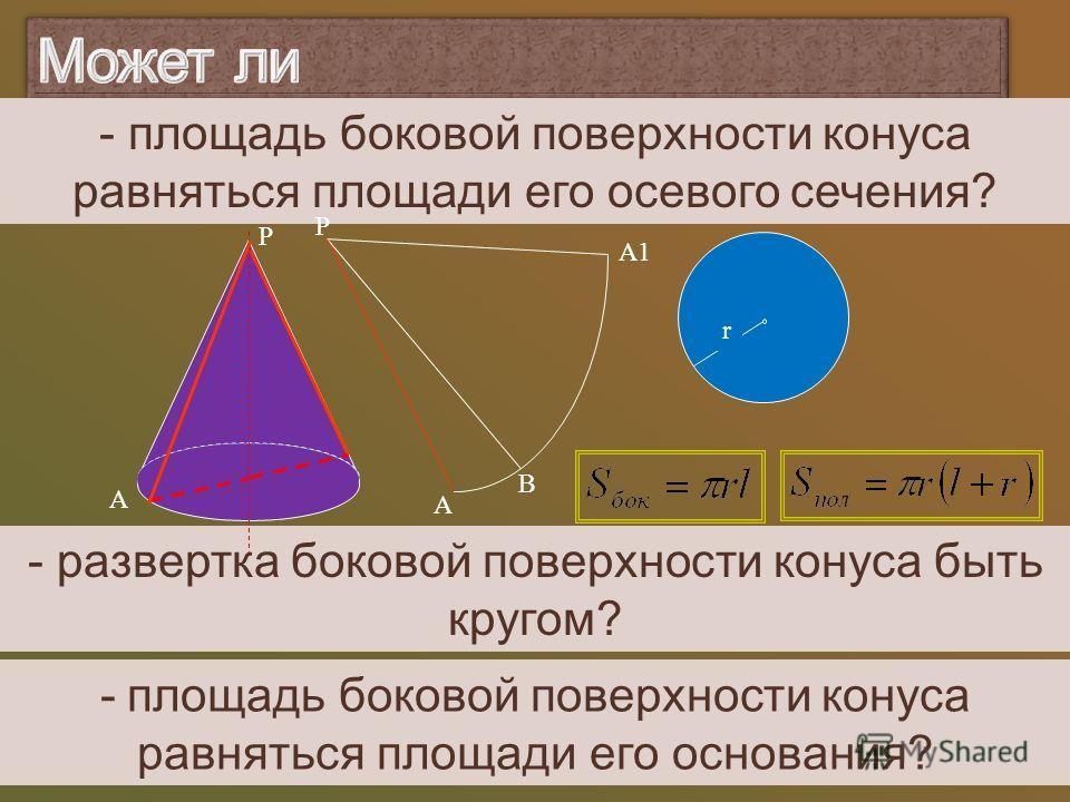 -площадь боковой поверхности конуса равняться площади его основания? - площадь боковой поверхности конуса равняться площади его осевого сечения? - развертка боковой поверхности конуса быть кругом? Р А Р А В А1А1 r