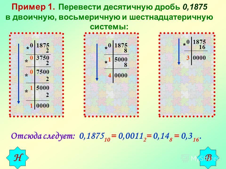 Пример 1. Перевести десятичную дробь 0,1875 в двоичную, восьмеричную и шестнадцатеричную системы: 0 1875 * 2 0 3750 * 2 0 7500 * 2 1 5000 2 * 1 0000 0 1875 * 8 1 5000 * 8 4 0000 0 1875 * 16 3 0000 Отсюда следует: 0,1875 10 = 0,0011 2 = 0,14 8 = 0,3 1