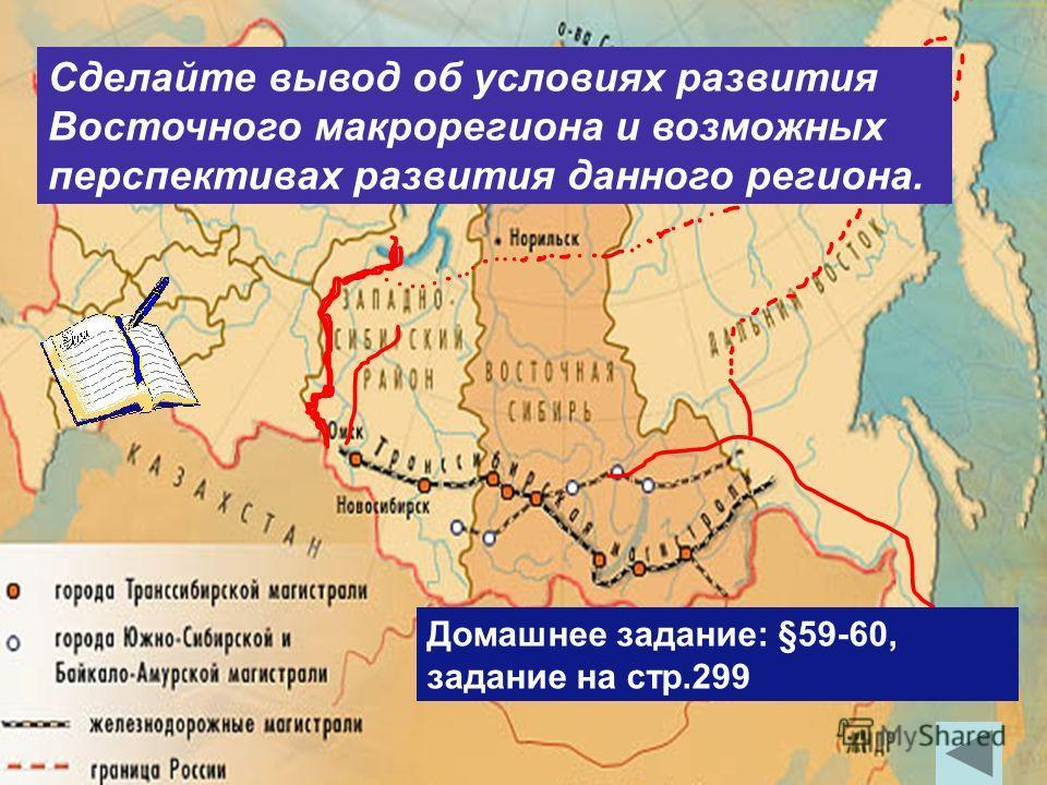 Сделайте вывод об условиях развития Восточного макрорегиона и возможных перспективах развития данного региона. Домашнее задание: §59-60, задание на стр.299