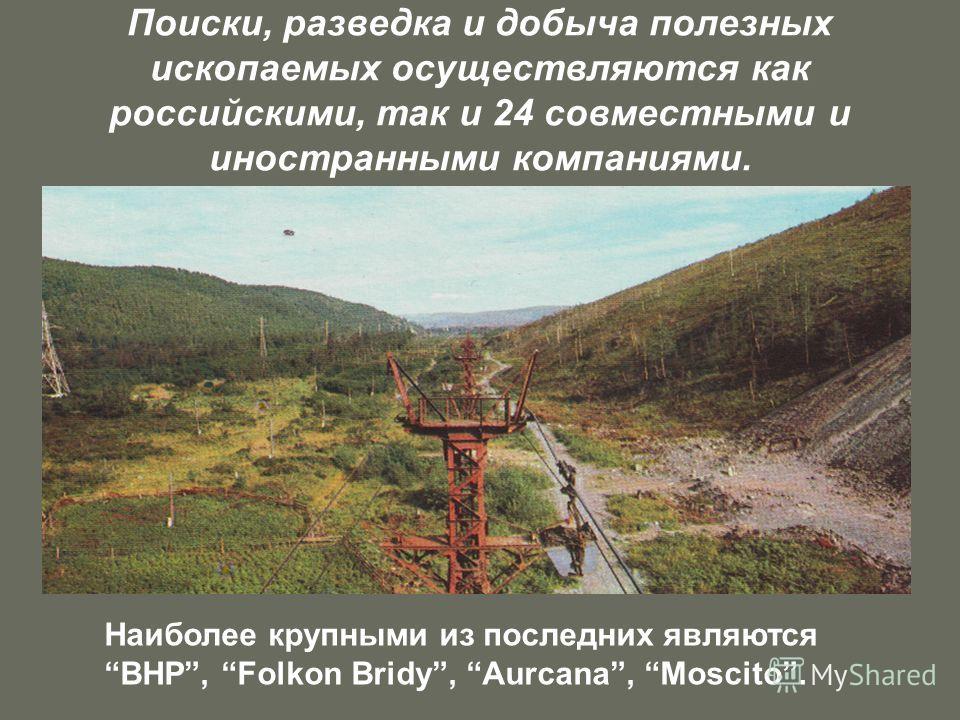 Поиски, разведка и добыча полезных ископаемых осуществляются как российскими, так и 24 совместными и иностранными компаниями. Наиболее крупными из последних являются BHP, Folkon Bridy, Aurcana, Moscito.