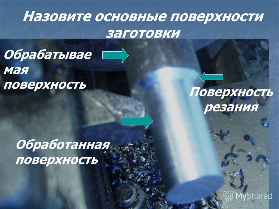 Назовите основные поверхности заготовки Обрабатывае мая поверхность Обработанная поверхность Поверхность резания