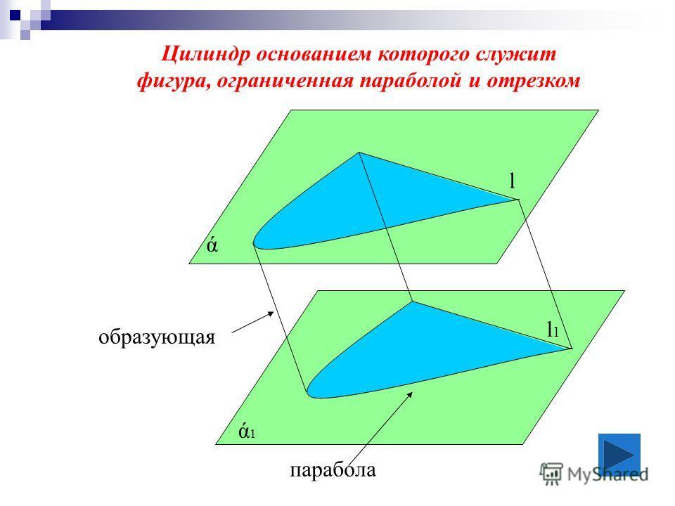 Цилиндр основанием которого служит фигура, ограниченная параболой и отрезком l l 1 образующая ά ά1ά1 парабола