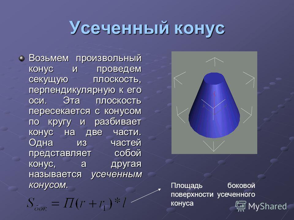 Усеченный конус Возьмем произвольный конус и проведем секущую плоскость, перпендикулярную к его оси. Эта плоскость пересекается с конусом по кругу и разбивает конус на две части. Одна из частей представляет собой конус, а другая называется усеченным