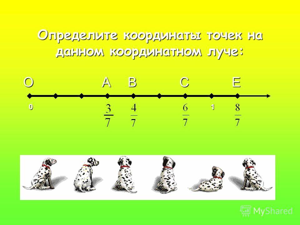 Определите координаты точек на данном координатном луче: ОАВСЕ 01